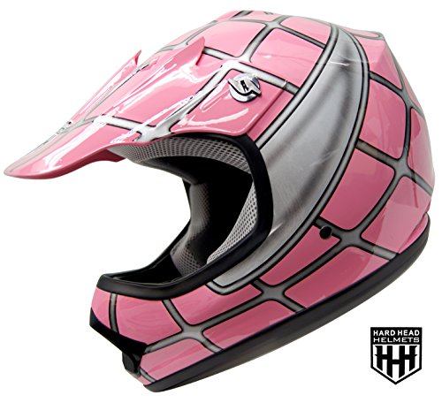 SmartDealsNow - HHH DOT Youth & Kids Helmet for Dirtbike ATV Motocross MX Offroad Motorcyle Street bike PINK NET (Medium)