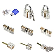 MICG 9pcs Professional Cutaway Inside View of Practice Kit Padlock Door Lock Pick Training Skill For Locksmith Beginner