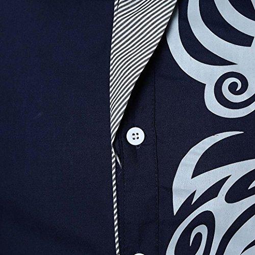 39a865b44a47 kaifongfu Men Shirt,Clearance Personality Slim Print Long Sleeve Shirt Top  Men Blouse(Navy