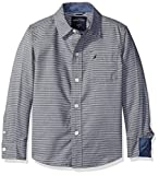 Nautica Little Boys Sailor Feeder Stripe Long Sleeve Woven Shirt with Chambray Trims, Sport Navy, Large/7
