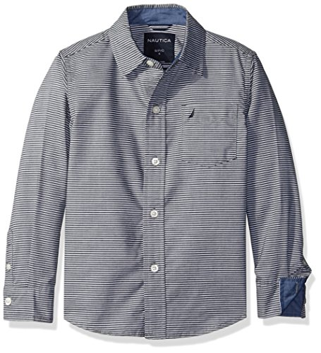 Nautica Little Boys Sailor Feeder Stripe Long Sleeve Woven Shirt With Chambray Trims, Sport Navy, X-Large/7X ()