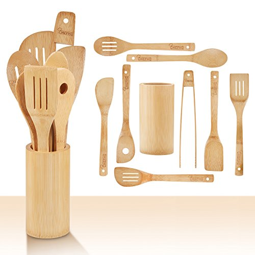 (CHEFHQ 9 Piece Bamboo Cooking Utensils Set - Set Includes: Holder, Spatulas, Slotted Spatula, Serving Spoons, Angled Spoon with Hole, Tongs - Wood Tool Utensil Sets for Nonstick Cookware)