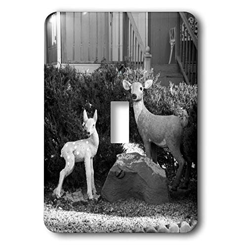 - 3dRose Jos Fauxtographee- Black and White Deer - Deer in black and white near a boulder in a yard - Light Switch Covers - single toggle switch (lsp_288933_1)