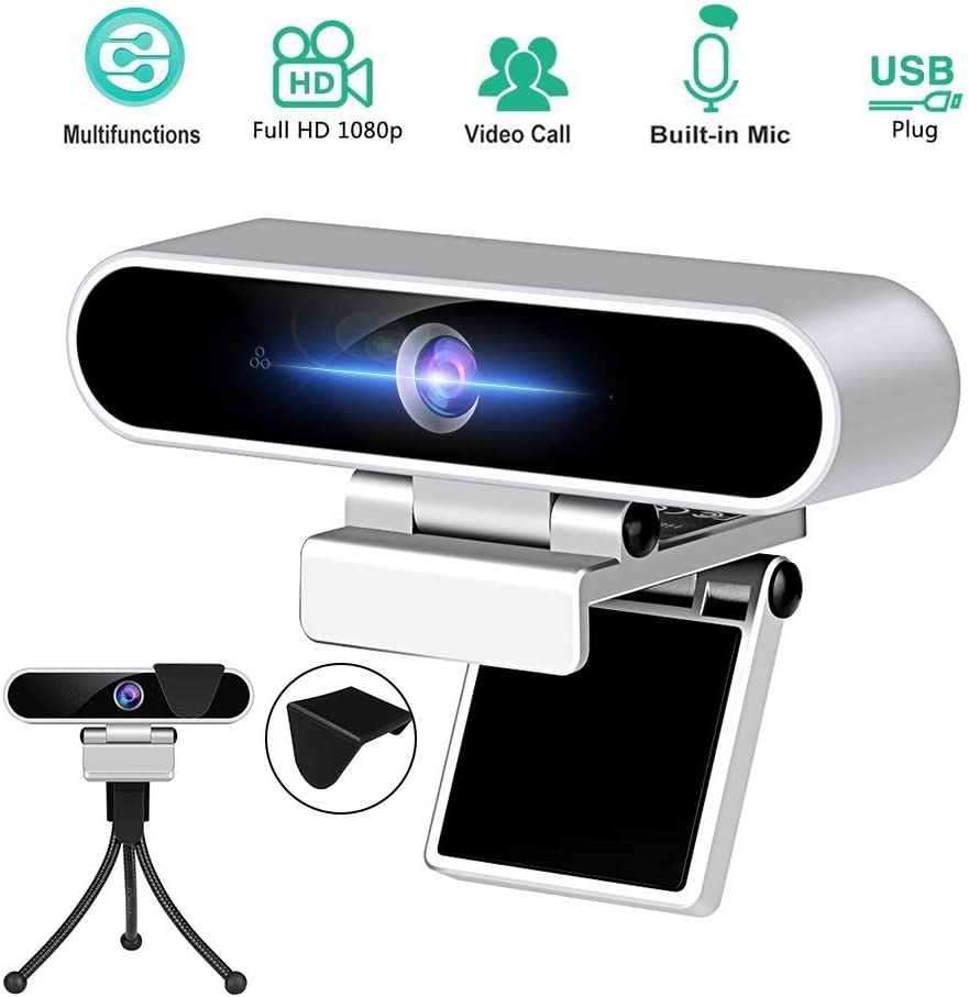 Webcam 1080P PC Webcams with Microphone Camera 30fbs Streaming Full HD USB Computer Camera with Privacy Cover and Tripod Internet Web Cam for Desktop Computer,Laptop ,Mac Video Conferencing