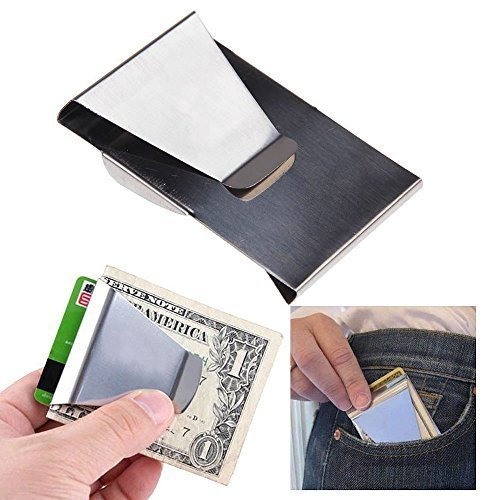 Money Clip Minimalist Wallets for Men Double Sided Slim wallet Stainless Steel,Credit Card Holder (Classic Money Clip)