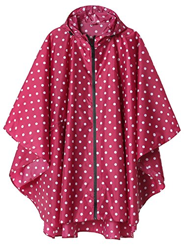 LINENLUX SiYang Rain Poncho Jacket Coat for Adults Hooded Waterproof with Zipper Outdoor (Pink Point) by LINENLUX