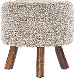 Chandra Rugs Ida Handmade Contemporary Wool Stool, 1'6'' x 1'6'' x 1'6'', Natural Mix