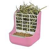 Niteangel 2 in 1 Hay Feeder Manger, Feeder Bowls Double Use for Grass & Food (Pink)