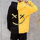 Simayixx Fashion Print Hoodie Sweatshirt Men Unisex Teens Smiling Face Color Block Jacket Pullover Sweaters Plus Size Tops