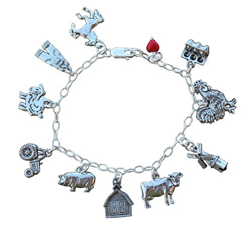 Night Owl Jewelry Farm Charm Bracelet- Pewter Barnyard Animal Charms, Sterling Silver Chain- 8 Inches (L)