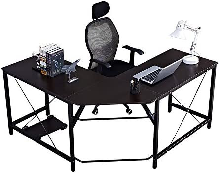 Soges Large 59 x 59 inches L-Shaped Computer Desk Corner Desk L Desk Office Workstation Desk, Black LD-Z01BK