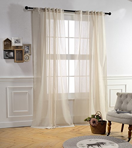 Sheer Curtains 84 Inches Long for Bedroom by MYSKY HOME Rod Pocket and Back Tap Crushed Voile Sheer Curtain Panel for Living Room (Wood Beige, 51