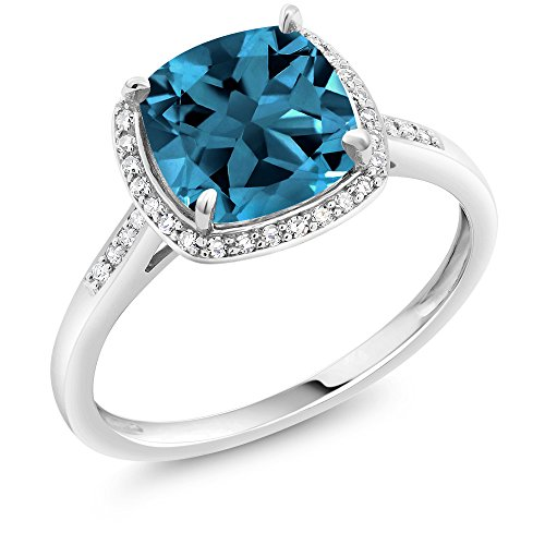 Gem Stone King 10K White Gold London Blue Topaz and Diamond Women's Halo Engagement Ring (2.50 Cttw 8MM Cushion Cut Available 5,6,7,8,9) (Size 8)