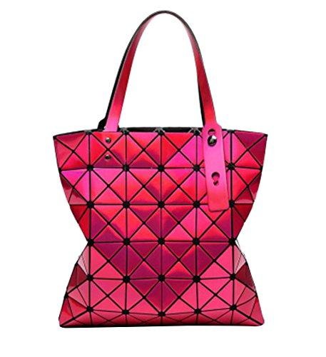 À la mode Sac à bandoulière géométrique sac à bandoulière femme sac à main Lingge, 32.5 * 32.5cm Rouge