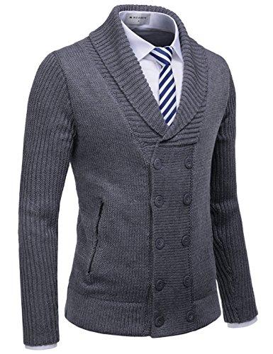 NEARKIN NKNKNDJ7 Mens Shawl Collar Double Button Down Winter Cardigan Sweaters Charcoal US S(Tag Size S)