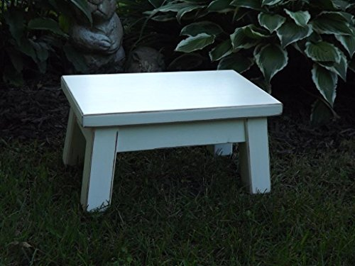 Heirloom white/ wooden step stool/ foot stool/ wood stool/ riser solid distressed/ 10