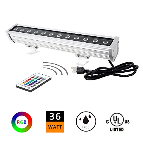 H-TEK 36W LED RGB Wall Washer Lamp for Advertisement Lighting, Hotels, Resorts and Casinos, 100-277V IP65 Water Proof, 1.64ft/20inches Length (Wall Washer Outside Led)