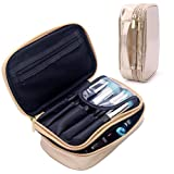 Travel Makeup Bag With Brush Holder Cosmetic Bag Makeup Case Gold