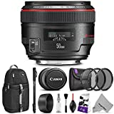 Canon EF 50mm f/1.2L USM Lens w/ Advanced Photo and Travel Bundle - Includes: Altura Photo Sling Backpack, Monopod, Camera Cleaning Set
