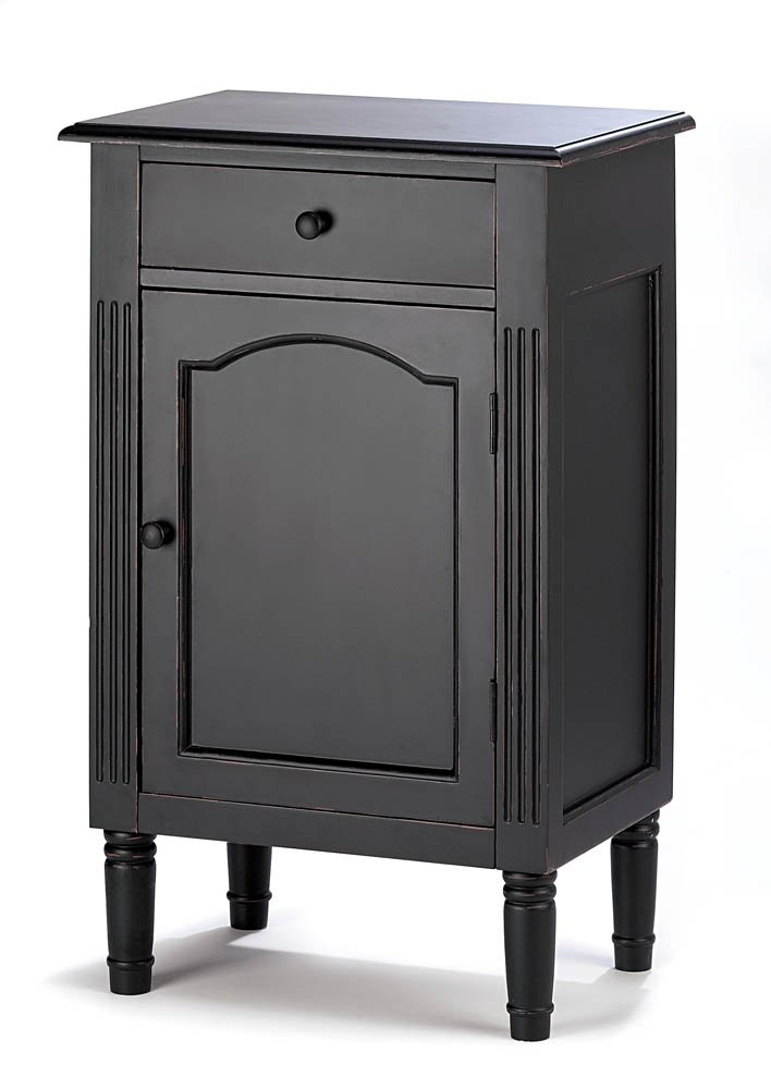 Zingz & Thingz 39092 Wood Cabinet for Home, Office, Spa Weddings, Party, Or Special Occasions, Antiqued Black
