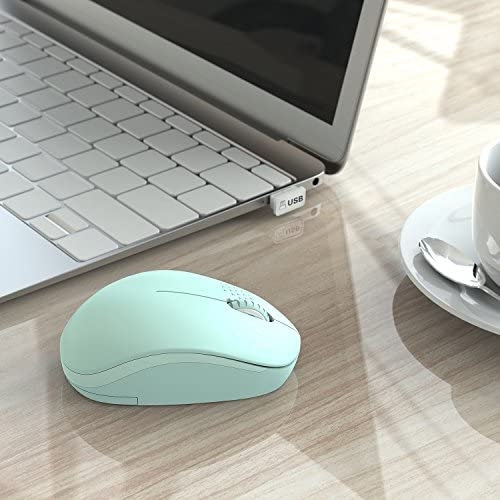 seenda Wireless Mouse, 2.4G Noiseless Mouse with USB Receiver - Portable Computer Mice for PC, Tablet, Laptop with Windows System - Mint Green