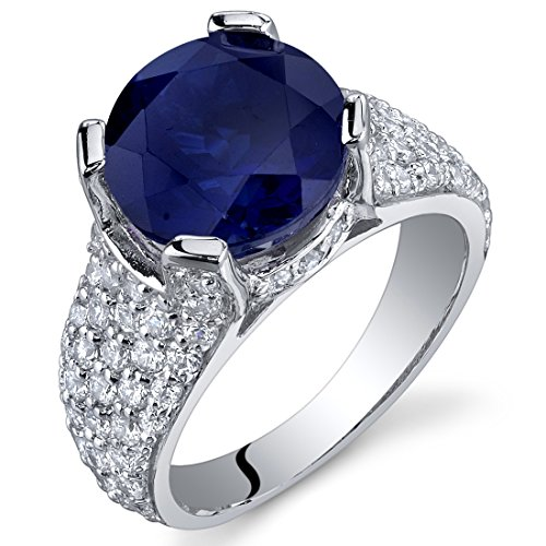 (5.25 Carats Created Sapphire Cluster Ring Sterling Silver Rhodium Nickel Finish Size 5)