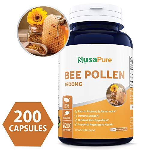 Bee Pollen 1500mg 200caps (Non-GMO & Gluten Free) Naturally Rich in B Vitamins, Proteins, Carbohydrates and Digestive Enzymes - Made in USA - 100% Money Back Guarantee!