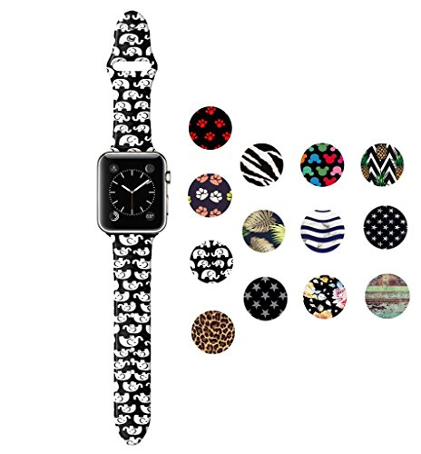 (Dsigo Replacement Band for Apple Watch 38mm 40mm Series 4 Series 3 Series 2 Series 1 M/L, Strap Bands for iwatch, Silicone Sport Style Wristband, Personalized Design Black)
