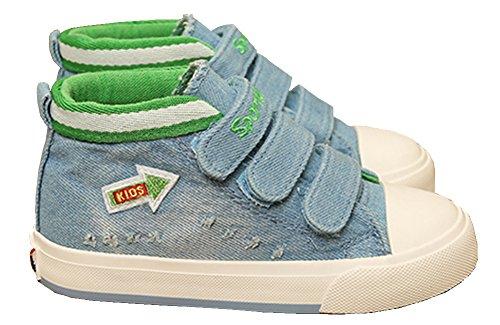 VECJUNIA Kinder Jungen Mädchen Pfeil Gedruckt High Top Haken und Loop Segeltuch Sneakers Outdoor Laufschuhe Hellblau