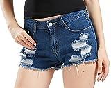 Chouyatou Women's Perfectly Fit 5-Pockets Ripped Denim Jean Shorts (X-Large, Dblue)