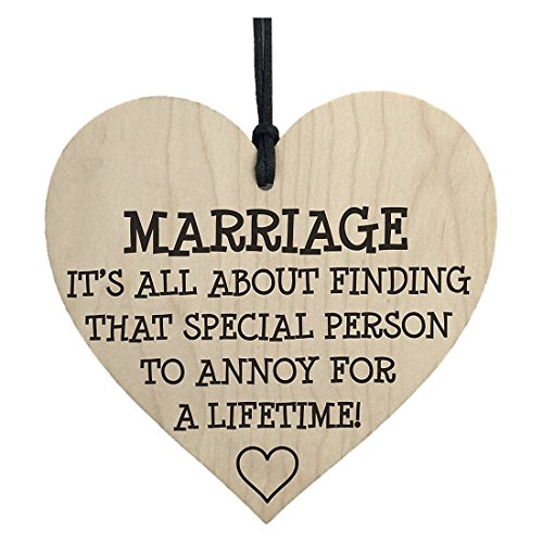 Plaques Signs - Marriage Is A Special Person To Annoy Novelty Wooden Hanging Heart Love Plaque - Foil Wood Shape Dog Rustic House Balloon Mm Birthday 21st -