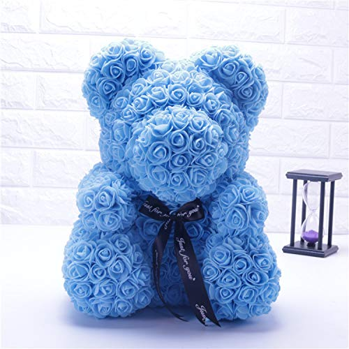 - KEENICI Rose Bear with Box Teddy Bear Artificial Rose Flower for Girlfriend Creative Toy Unique Party Decoration (25cm Blue No Box)