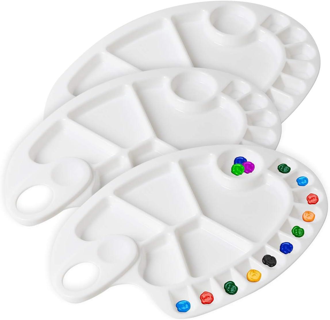 DerBlue 3Pcs Plastic Paint Tray Palettes Acrylic Paint Palette Watercolor Mixing Palette for Artist Painting