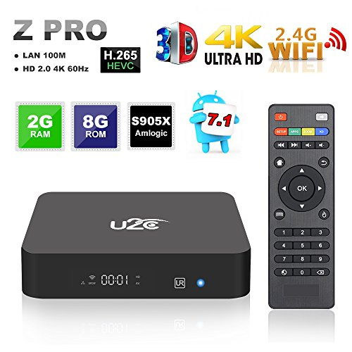 Android 7.1 TV Box 2GB RAM 8GB ROM 4K Ultra HD 3D 2.4GHz WIFI Smart Internet TV Box U2C Z Pro Amlogic S905X Quad Core 64 Bits Video Media Player by U2C