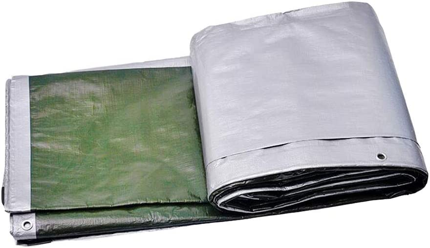 DALL ターポリン 両面防水 防風 日焼け止め 180G /㎡ レインプルーフ アウトドア 車のカバー マルチサイズ (Color : 銀, Size : 5×8m) 銀 5×8m