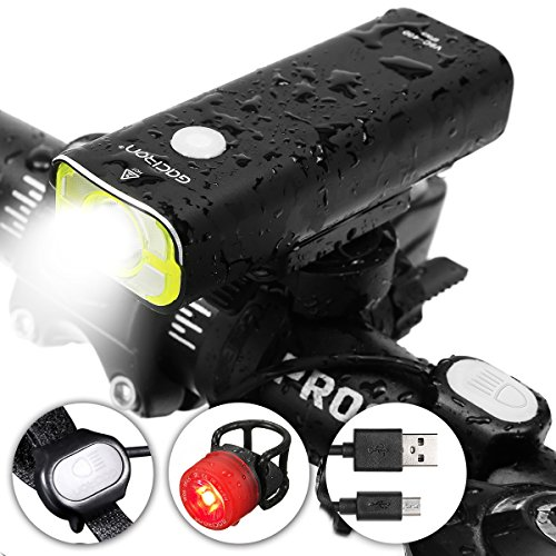 OUTERDO USB Rechargeable LED Bike Light Set 400 Lumens Super Bright Remote Switch Bike Headlight,Waterproof Long-Running 5 Modes Bike Front Light with 3 Modes Bicycle Tail Light Cycling Flashlight