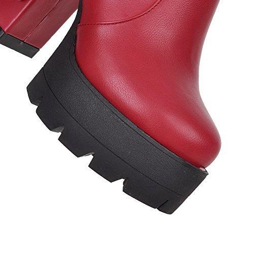 1TO9 Girls Chunky Heels Platform Zipper Mesh Legging Boots Red I833v