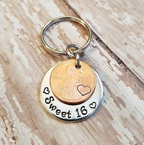 Sweet 16 Happy 16th Birthday Lucky 2002 or 2003 Copper Penny Key Chain