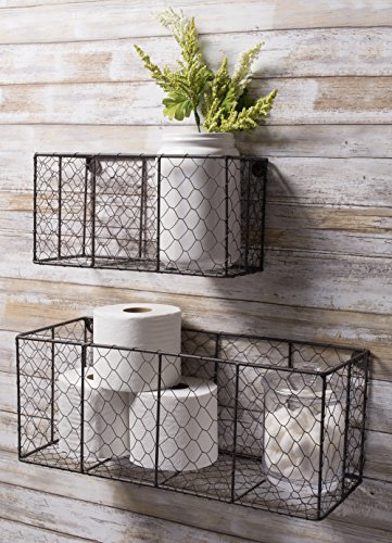 DII Z01929 Rustic Farmhouse Vintage Chicken Wire Wall Basket, Small (Set of 2), Bronze by DII (Image #4)
