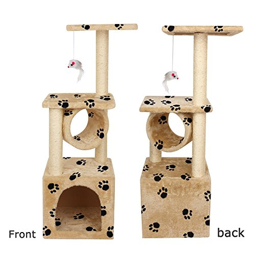 Yohoz 36in Deluxe Faux Fur Level Cat Tree Condo Furniture Climbing Activity Tower Scratching Scratcher Post Kittens Pet Play House and Tunnel Play Toy (Paw) by Yohoz (Image #6)