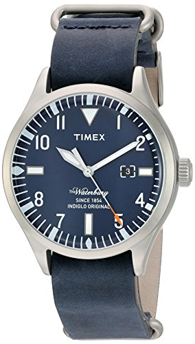 (Timex Men's 'The Waterbury' Quartz Stainless Steel and Leather Casual Watch, Color:Blue (Model: TW2P64500ZA))