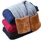 DCOIKO Girls Pants Velvet Skinny Warm Thick Leggings Children Fleece Lined Elastic Waist Knitting Trousers For Kids (140,Red)