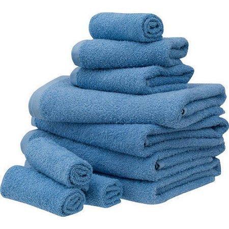 Mainstays Value 10-Piece Towel Set   100% Light Terry Cotton (Office Blue)