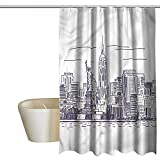 Denruny Teal Shower Curtains for Bathroom Under 20 New York,Sketchy NYC Island,W72 x L96,Shower Curtain for Shower stall