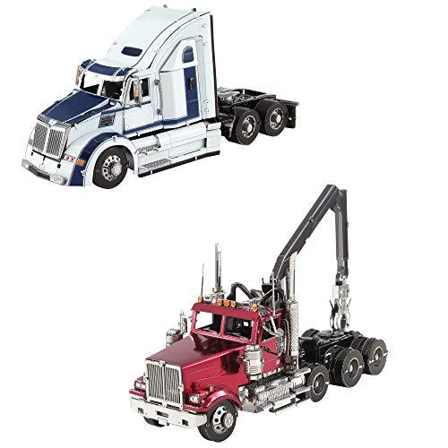 (Fascinations Metal Earth 3D Metal Model Kits Western Star Trucks Set of 2 - 5700XE Phantom - 4900SF Log Truck)