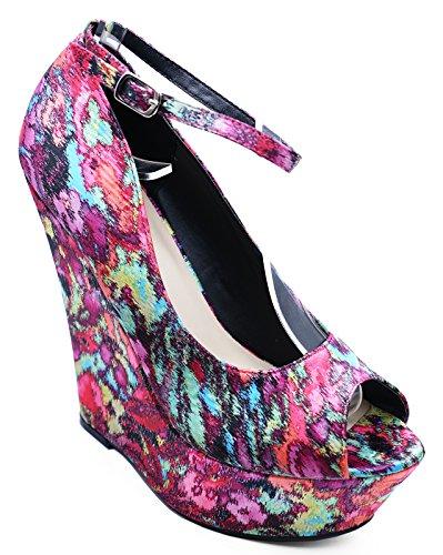 Sizes Ladies On Slip 3 Platform Court High 8 Satin Fuchsia Heel Shoes Wedge wZvqwgxr