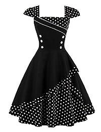 Babyonline Women's Vintage Polka Dots Cap Sleeve Cocktail Formal Swing Dress