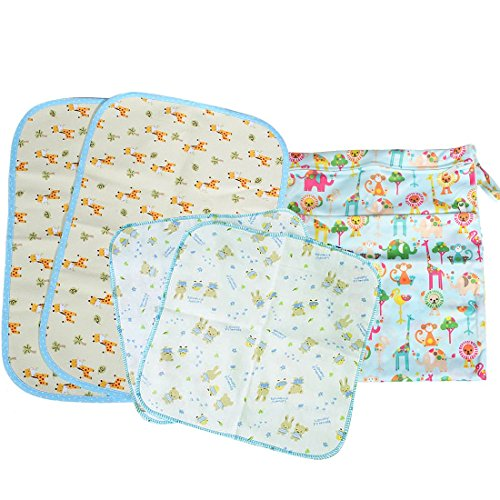 MyKazoe Baby Essentials Gift Set, Waterproof Wet Bag + 2 Waterproof Lap Pads + 2 Muslin Wipe Cloth – Set of 5 (Neutral Love)