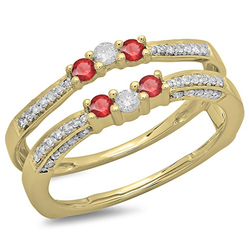 Dazzlingrock Collection 14K Yellow Gold Round Ruby & White Diamond Ladies Wedding Band Enhancer Guard Ring (Size 7) -