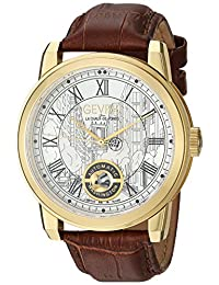 Gevril Men's 'Washington' Swiss Automatic Gold-Tone and Leather Casual Watch, Color:Brown (Model: 2622L)